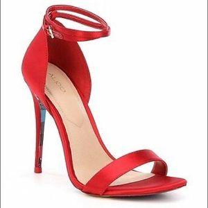 Red satin Aldo heels